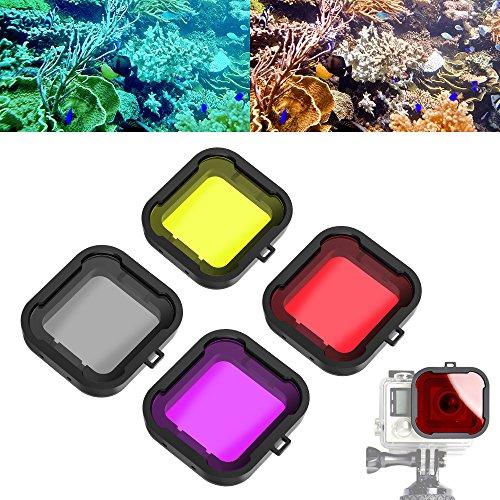 Asiv 4 Stück Unterwasser Sport Tauchen Filter Objektiv für GoPro 3+ 4 Standard-Gehäuse (Rot + gelb + grau + violett) (4 Hero Dive Gopro Objektiv)
