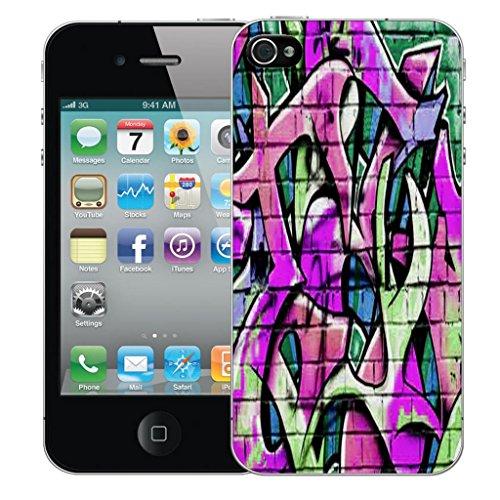 Nouveau iPhone 4 clip on Dur Coque couverture case cover Pare-chocs - twirling butterfly Motif avec Stylet wall grafitti purple