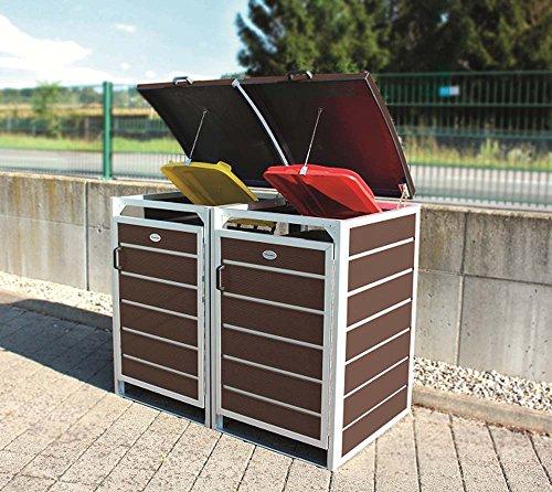 Prewood WPC Mülltonnenbox, Mülltonnenverkleidung für 2x 240l Mülltonne braun // 86x152x127 cm (LxBxH) // Fertig montierte Lieferung! - 2