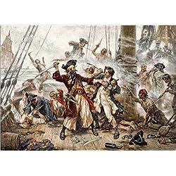 "Lienzo ""The capture of the Pirate Blackbeard"", 170 x 120 cm."