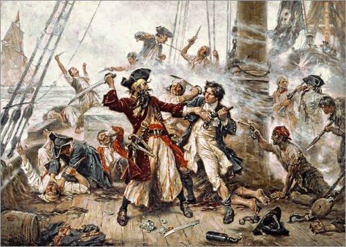 Posterlounge Acrylglasbild 80 x 60 cm: Die Gefangennahme vom Piraten Blackbeard von Jean Leon Gerome Ferris/Bridgeman Images - Wandbild, Acryl Glasbild, Druck auf Acryl Glas Bild -