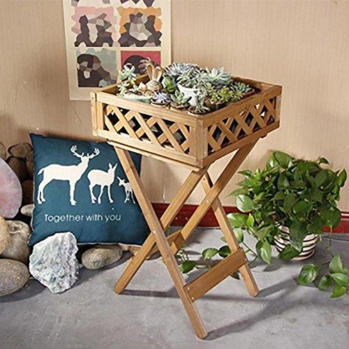 RJZHJ jardin Bois massif Réseau net Succulentes Support de fleurs Pliant Panier de fleurs Cadre de l'usine Pot de fleurs Bonsaï plateau Chlorophytum Scindapsus Petite table de fleur , Brown , 40*72cm