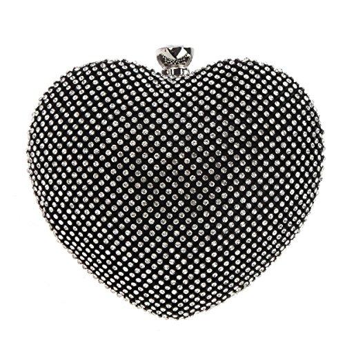 Bonjanvye Heart Shape Diamond Clutch Bag for Ladies Trendy Evening Purse Black -