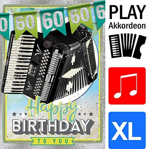 """bentino Geburtstagskarte XL mit AKKORDEON-Funktion! Mit der Grußkarte\""""Happy Birthday\"""" spielen, Glückwunschkarte aus der Serie\""""Great Cards\"""", DIN A4 Set mit Umschlag, 60. Geburtstag"""