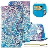 Herbests Handyhülle für Samsung Galaxy J3 2017 Handytasche Dünn Bookstyle Klapphülle Luxus Glitzer Glänzend Wallet Hülle Ledertasche Lederhülle Flip Case Handy Schutzhülle,Blau Mandala