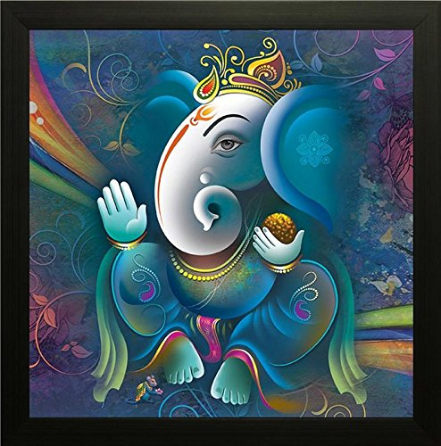 Paper Plane Design Exclusive Framed Wall Art Paintings Showing Ganesha in Blue Colour for Living room Bedroom and Decoration Purpose Frame size (12 inch x 12 inch, (Synthetic, 30 cm x 3 cm x 30 cm, Special Effect Textured)  available at amazon for Rs.149