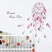 decalmile Stickers Muraux Attrape Rêves Autocollant Mural Plumes Fleur Citations Dreams Come True Décoration Murale…