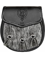 Duff Semi Dress Sporran Fur Plain Leather Flap Scottish Clan Crest