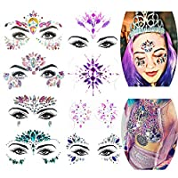 Face Gems - Women Mermaid Festival Face Jewels Crystal Face Glitter Rhinestone,Glitter Makeup Festival Temporary Tattoo Eyebrow Body Stickers,Sticks on Face Gems(Style B-8,Purple,Red,Blue)
