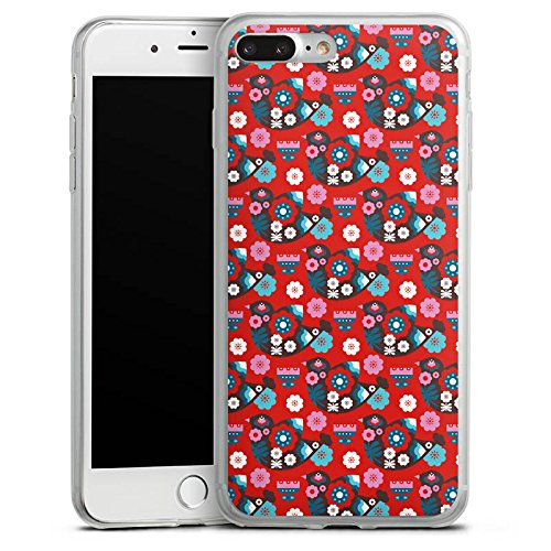 Apple iPhone 8 Slim Case Silikon Hülle Schutzhülle Vogel Blumen Vögel Silikon Slim Case transparent