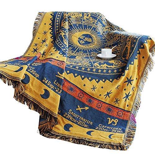 QEES Baumwolle 12Sternbilder Decor Gobelin Muster Gewebte Couch Überwurf Decke, 170,2cm Indischen Home Hippie Wanddeko Zum Aufhängen, Beach Werfen, Tischläufer/Tuch GT05 67