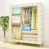 Cqq guardarropa Armario sencillo de madera sólida Armario de montaje de almacenamiento Paño de niños plegable dormitorio armario ( Color : E )