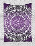 daawqee Purple Tapestry Ombre Mandala Art Print Vibrant Floral Pattern Boho Hippie Inspired Design for Living Room Bedroom Dorm 60 W X 80 L Inches Unique Home Decor