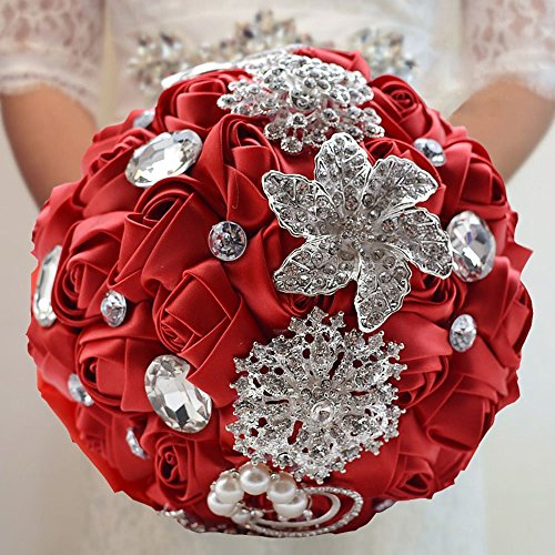 Fouriding Wedding Flowers Bride Bridal Bouquet Bridesmaid Holding Bouquets with Diamond Pearl Satin Roses for Photo Shooting, Valentine's Day, Birthday Decorations Gift, Creystal Red