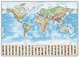 J.Bauer Karten Pinnwand im Alu-Rahmen: Physische Weltkarte, 140x100 cm, englisch, Aktuell: Stand 2016