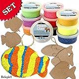 Bastel-Set-bunte FISCHE für Kinder 6 Fische aus Pappmaché und 10 Dosen Foam Clay (Modelliermasse) in kunterbunten Farben, auch zum Kindergeburtstag eine ideale Beschäftigung