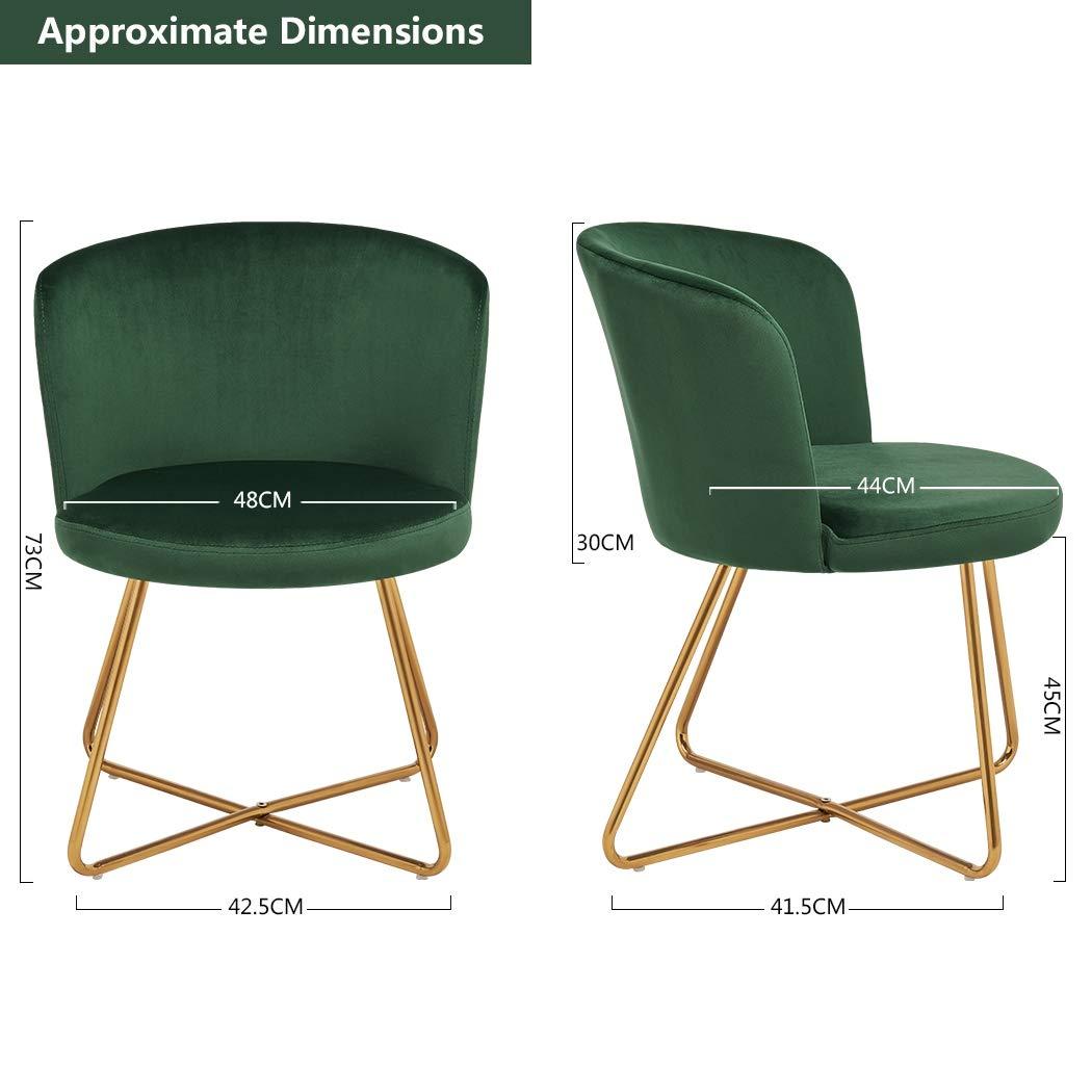 Duhome 2er Set Esszimmerstuhl aus Stoff Samt Hell Blau Polsterstuhl Retro Design Stuhl mit Rückenlehne Besucherstuhl Metallbeine Farbauswahl 8076X 2
