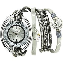 Michael John Damen-Armbanduhr soldes Valentinstag Silber Quartz Gehäuse Stahl Armband Kunstleder Doppel Tour grau