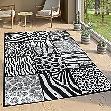 Alfombra De Diseño Patchwork Motivo De Piel Moderna Gris Antracita Blanco, tamaño:120x170 cm