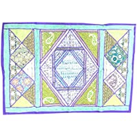 Mogul Interior Wall Hanging Tapestry Indian Decorative Blue/Green Sequin Embroidered Wall Hanging Hippie