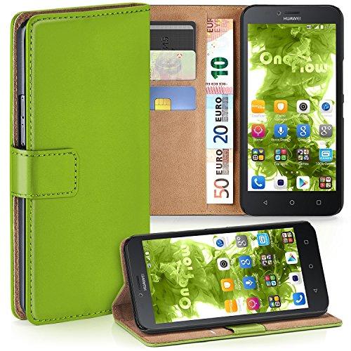 MoEx Huawei Y625 Hülle Grün mit Karten-Fach [OneFlow 360° Book Klapp-Hülle] Handytasche Kunst-Leder Handyhülle für Huawei Y625 Case Flip Cover Schutzhülle Tasche