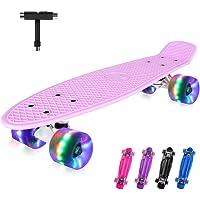 BELEEV Skateboard complet Mini Cruiser Retro Skateboard pour enfants adolescents adultes LED Roulettes lumineuses avec outil tout-en-un, outil pour débutants