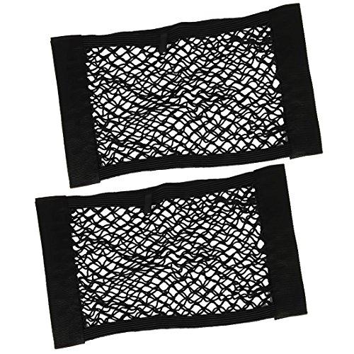 BeiLan 2 stücke Auto-Rückkoffersitzfracht Net Magic Aufkleber elastische Schnur Netz-Ineinander greifen Aufbewahrungstasche Gepäckhalter Taschenhalter Organizer (Schwarz)