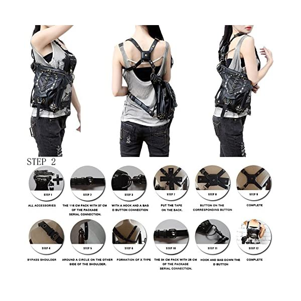 Steampunk Bag Steam Punk Retro Rock Gothic Goth Shoulder Waist Bags Packs Victorian Style for Women Men + Leg Thigh Holster Bag DM201605 100% Brand New and High Quality. Adjustable belt design for better fitting body Material : Leather ( PU Leather) Durable material and workmanship to withstand daily wear & tear. 6