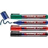 edding 300 permanente markeerstiften, zwart, rood, blauw, groen, 4 stiften, ronde punt 1,5-3 mm, waterbestendig, sneldrogend,