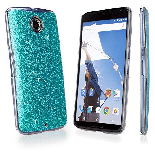Nexus 6Schutzhülle, BoxWave® [Glitter & Glitz Schutzhülle] bunt, Sparkly Glitzer Cover zum Aufstecken für Google Nexus 6–Blaugrün - Blue Glimmer Glitter