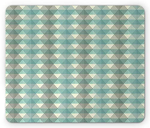 BAOQIN Mouse Pad,Argyle Mouse Pad, Artistic and Abstract Twill Pattern Geometric Zig Zag Border on Stripes, Standard Size Rectangle Non-Slip Rubber Mousepad, Seafoam Pale Green Grey -