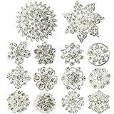 Kilofly–Set da Sposa, spilla con fiore in vetro e diamanti finti.