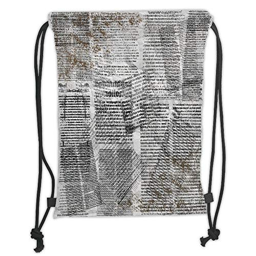 Fashion Printed Drawstring Backpacks Bags,Old Newspaper Decor,Dirty Grunge Page with Overlapping Texts Shabby Look Press,Silver Black Brown Soft Satin,5 Liter Capacity,Adjustable String Closure,Th