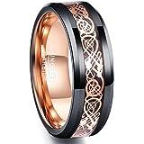 NUNCAD Anello in Oro Rosa con Drago Celtico Uomo Donna,Anello di Tungsteno Nero 8mm per Matrimonio Fidanzamento Associazione