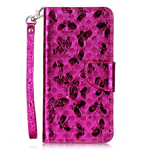 Custodia iPhone 6 Plus, iPhone 6S Plus Flip Case Leather, SainCat Custodia in Pelle Cover per iPhone 6/6S Plus, Anti-Scratch Book Style Protettiva Caso Elegante Creativa Dipinto Pattern Design PU Leat Red Rose