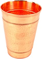IndianArtVilla Pure Copper Big Top Flat Hammered Glass with 2 Ring 500 ML - Serving Water Home Hotel Restaurant Good Health Benefit Yoga