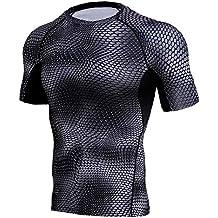 BBestseller Estampado Blusa de Secado rápido Camisetas de Deportes para Hombre Mangas Cortas Fitness Tees Verano