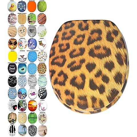 Sedile WC con chiusura ammortizzata, grande scelta di belli sedili WC da legno robusto e di alta qualità (Leopardo)