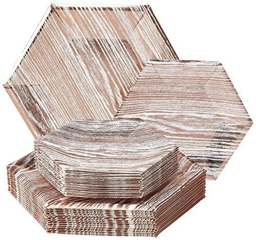 (EINWEGGESCHIRR PARTY-SET (36 Teile) | 18 Dinner-Teller | 18 Salat/Dessert Teller | robustes Pappgeschirr | eleganter China-Look | Hexagon-Holz-Design (Wood Kollektion-Weiß/Rosa))