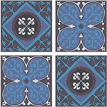 PLAGE 260523 Adhesivos de decoración para azulejos Smooth, Azulejos antiguos, 4 Hojas, 14,5 x 14,5 cm
