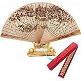 WSZYD Paniers imitation pliage d'impression de bois de santal du ventilateur rouge de bois parfumé creuse de soufflante du Myanmar Hong fan fan mâle Mme