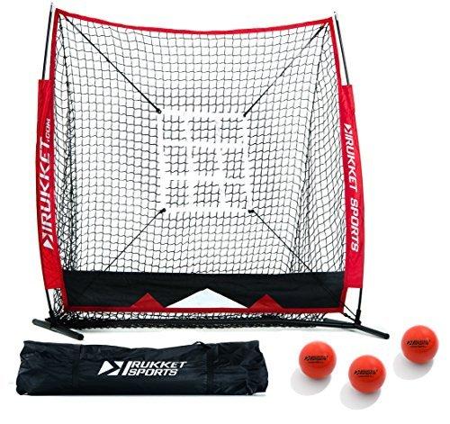 Rukket 5x5 Baseball & Softball Practice Hitting Net ACE Bundle w/ 3 Training Balls & Strike Zone by Rukket Sports -