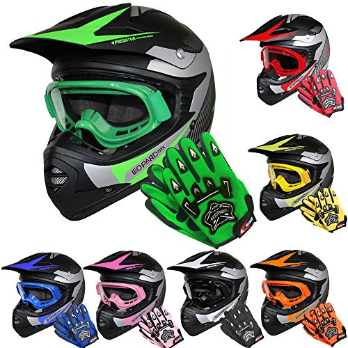 Leopard LEO-X19 *ECE 2205 Genehmigt* Kinder Motocross MX Helm Motorradhelm Crosshelm Kinderquad Off Road Enduro Sport + Handschuhe + Brille - Grün M (51-52cm)