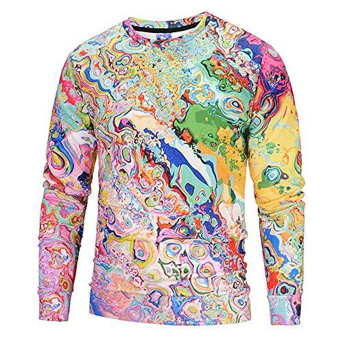 ASHOP Pullover Herren Freizeit Herbst Winter Fitness Cool 3D Print Longsleeve Bunt Sweatshirt (Mehrfarbig,M)