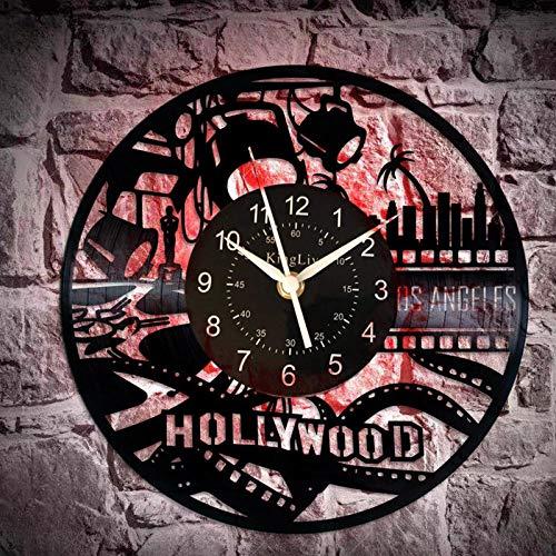 Idea de regalo de cine para hombres y mujeres reloj de disco de vinilo retro reloj de pared LED vintage decoraciones de película para el amante del cine de fiesta-A2 (con LED) _12 pulgadas