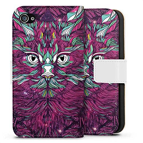 Apple iPhone X Silikon Hülle Case Schutzhülle Space Cat Katze Kitty Sideflip Tasche weiß