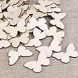 TINKSKY 50 Stück Holzscheiben Diy Holz Deko Holz Scheiben Scheiben unvollendete Schmetterling Holz Ausschnitt Vergleich