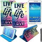 Samsung Galaxy Tab 3 7.0 Coque - Peinture Colorée Slim-Fit Galaxy Tab 3 7.0 Smart Housse Flip Case Cover Coque Etui à Rabat pour Tablette Samsung T210 Galaxy Tab 3 7.0 Pouces + Film de Protection d'écran et Stylet #9