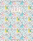 Agenda 2019 Semanal y Mensual: diseño de llama y lunares, color rosa, turquesa púrpura, 1 semana en 2 páginas, 52 semanas planificador y calendario (Enero a Diciembre 2019)