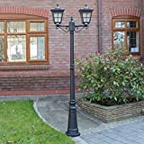 Super Solar 2m Twin Head Lamp Post with PIR Sensor and 6 High Power LEDs by Festive Lights